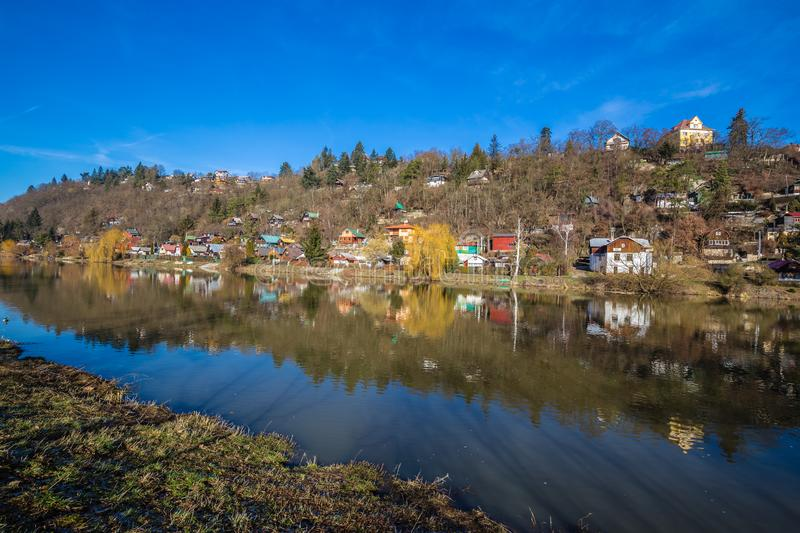 Berounka River - Cernosice, Prague, Czech Republic. Cottage Settlement Next To The Berounka River - Cernosice, Prague, Czech Republic royalty free stock image