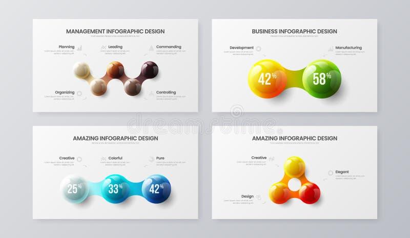 ?berraschen 2, 3, Darstellungsvektorillustrations-Schablonenb?ndel mit 5 Schritt vermarktendes Analytics Sichtbarmachungs-Entwurf stock abbildung