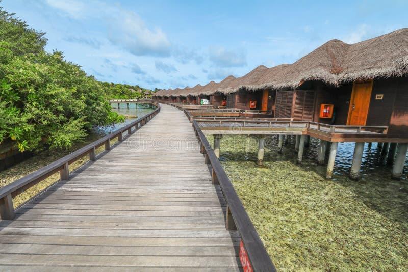 ?berraschende Insel in den Malediven, im Wasserlandhaus, in der Holzbr?cke und sch?nen im T?rkiswasser mit Hintergrund des blauen stockfotografie