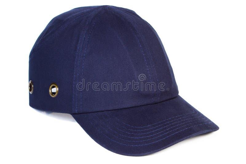 Berretto da baseball dei blu navy su fondo bianco, protezione dal sole fotografia stock libera da diritti
