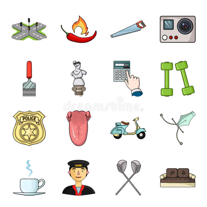 Berretto, esercito, putter e l'altra icona di web nello stile del fumetto sport, medicina, icone di spettacolo nella raccolta del illustrazione vettoriale