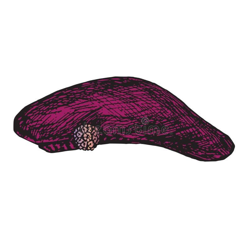 Berretto porpora con la fibula rosa dei gioielli, scarabocchio disegnato a mano, schizzo, illustrazione di vettore di colore illustrazione vettoriale