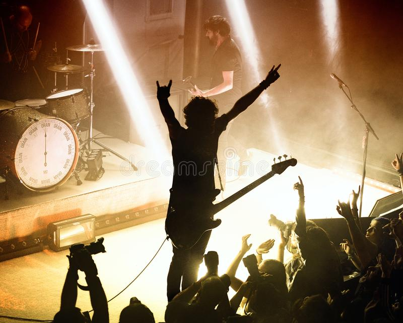 Berri Txarrak alternative heavy metal band live performance at Apolo. BARCELONA - FEB 13: Berri Txarrak alternative heavy metal band live performance at Apolo on stock image