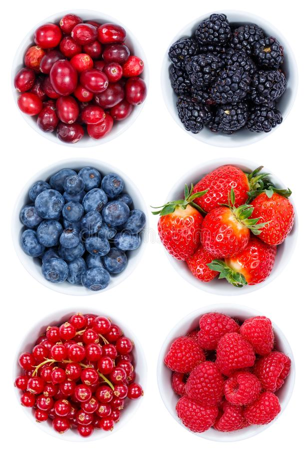 Berries berry fruits collection collage set from above bowl isolated on white royalty free stock photo