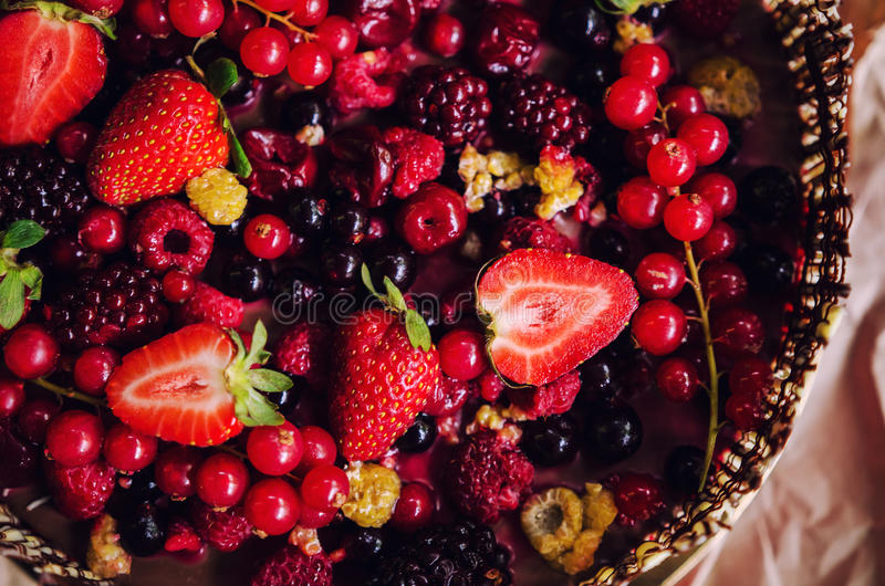 Berries chocolate cake. Closeup of rich dark chocolate berries cake on paper background stock images