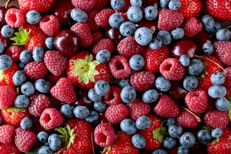 Berries closeup colorful assorted mix stock image