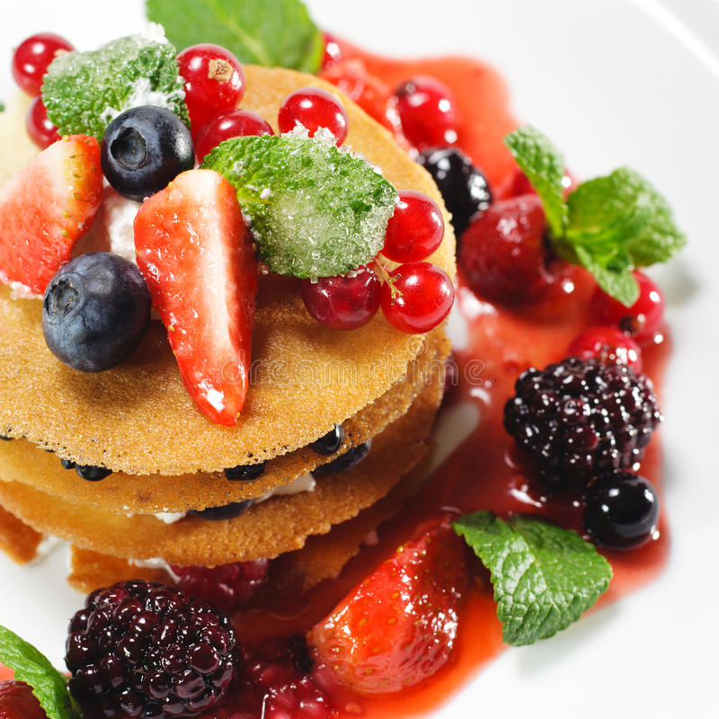 Berries Dessert. Dessert with Berries and Fresh Mint royalty free stock photo