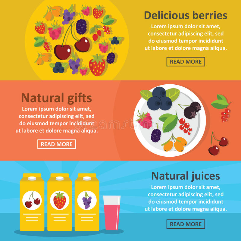 Free Berries Food Banner Horizontal Set, Flat Style Royalty Free Stock Photography - 93899947