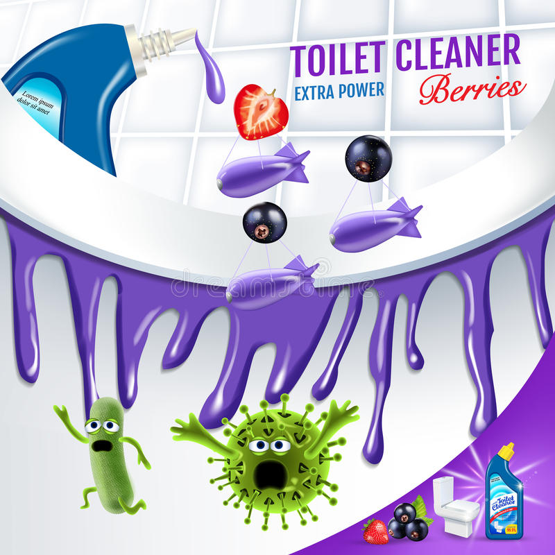 Berries fragrance toilet cleaner ads. Cleaner bobs kill germs inside toilet bowl. Vector realistic illustration. Poster. Berries fragrance toilet cleaner ads vector illustration