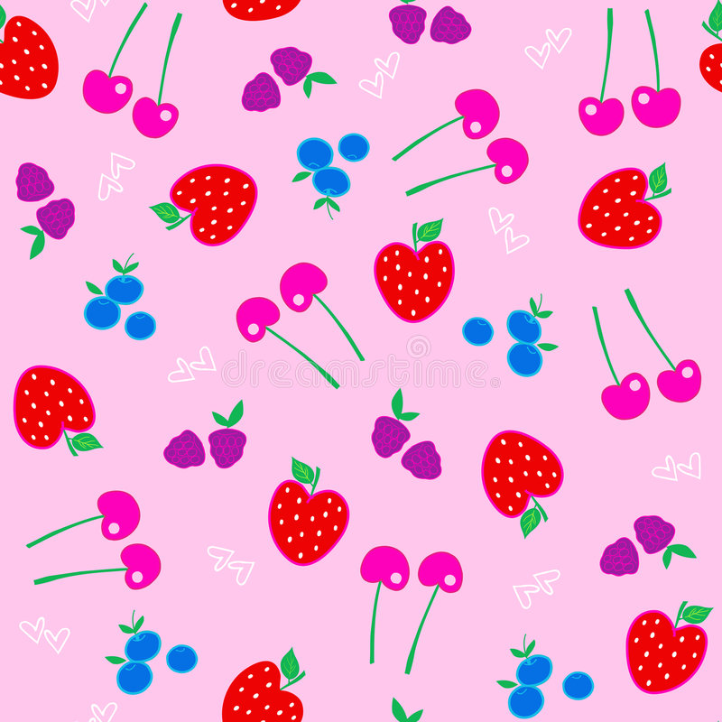 Berries Fruit Seamless Repeat Pattern Vector stock illustration