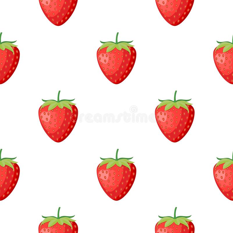 Berries fruit strawberry with leaves seamless pattern for textile prints, cards, design. Flat style, vector illustration. Berries fruit strawberry with leaves royalty free illustration