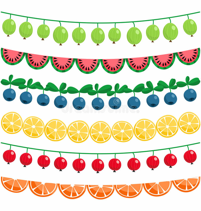 Berries and fruits garland royalty free illustration