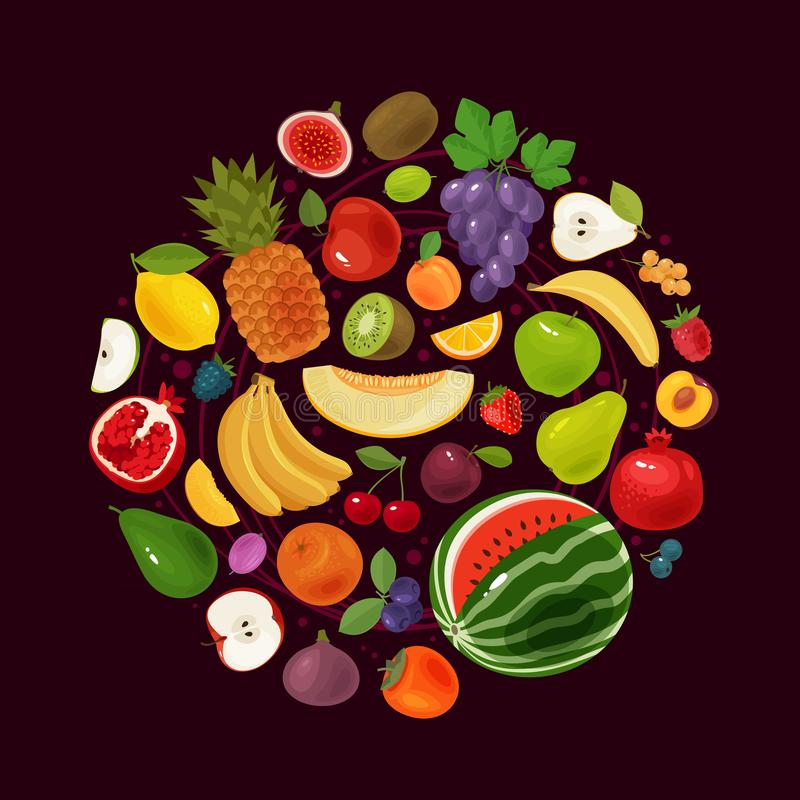 Berries and fruits. Natural food concept. Vector illustration stock illustration