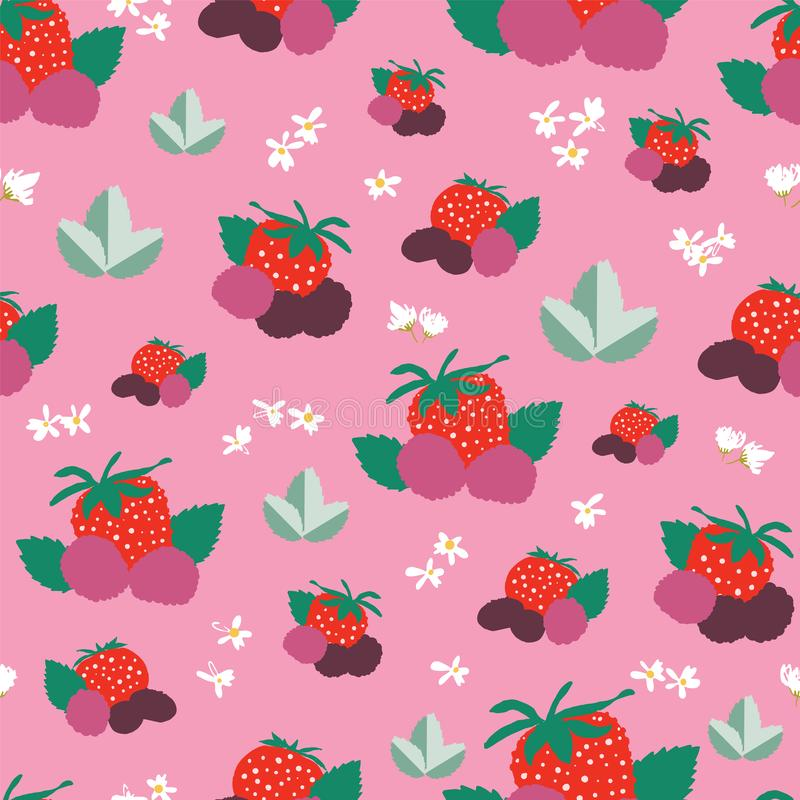 Berries leaves and flowers seamless vector pattern background royalty free illustration