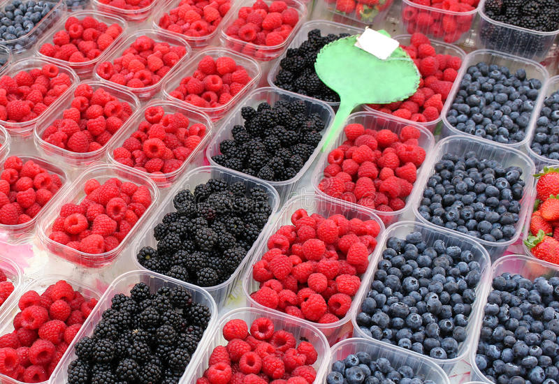 Berries market stall stock images