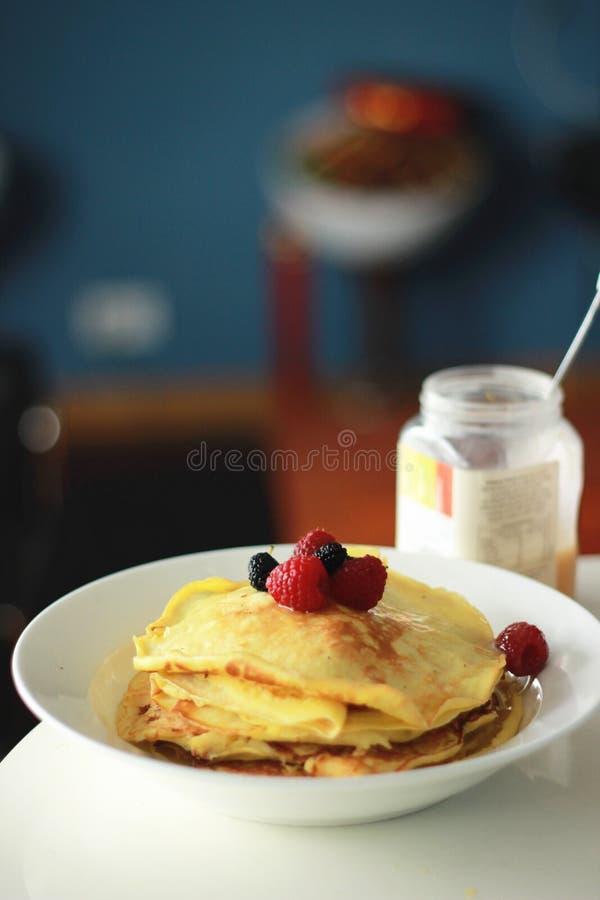 Berries pancake breakfast royalty free stock photo