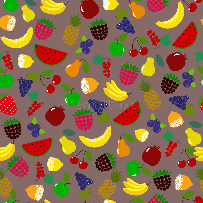 Berries pattern/ Fruit pattern. Seamless vector pattern/ Orange,lemon,watermelon, ananas and other fruits on brown background. For fabric pattern, paper, package vector illustration