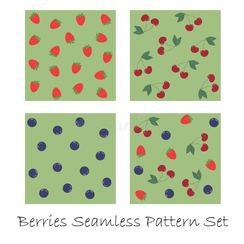 Download Berries Seamless Pattern Set Stock Vector - Illustration of illustration, fresh: 24002967