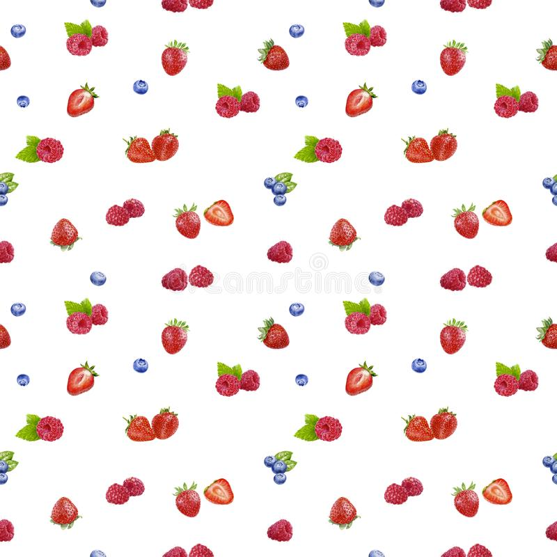 Berries seamless pattern watercolor illustration isolated on white royalty free illustration