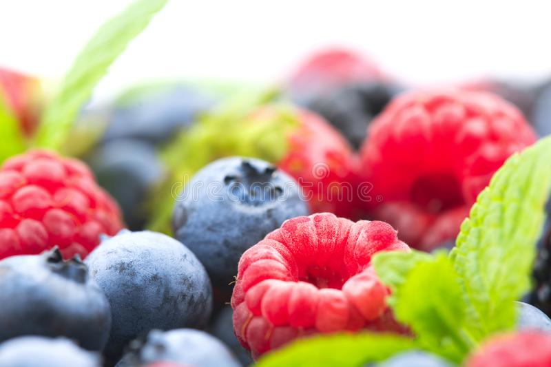 Berries. Various colorful berries background. Strawberry, raspberry, blackberry, blueberry closeup over white. Healthy eating stock images
