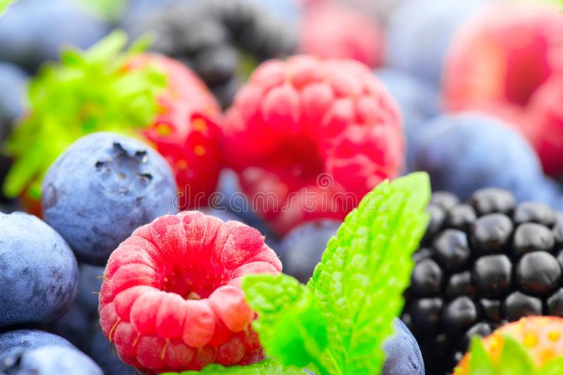 Berries. Various colorful berries background. Strawberry, raspberry, blackberry, blueberry closeup. Healthy eating stock image