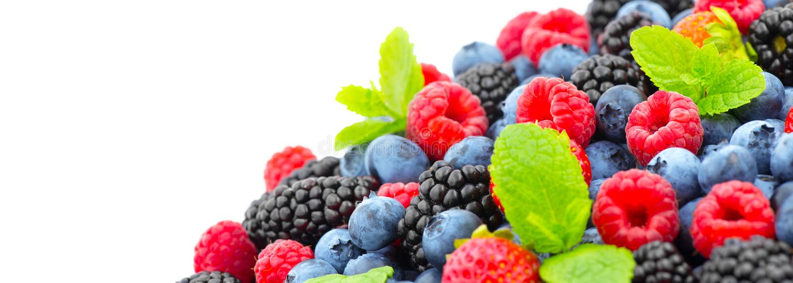 Berries. Various colorful berries background. Strawberry, raspberry, blackberry, blueberry closeup over white. Healthy eating royalty free stock photo