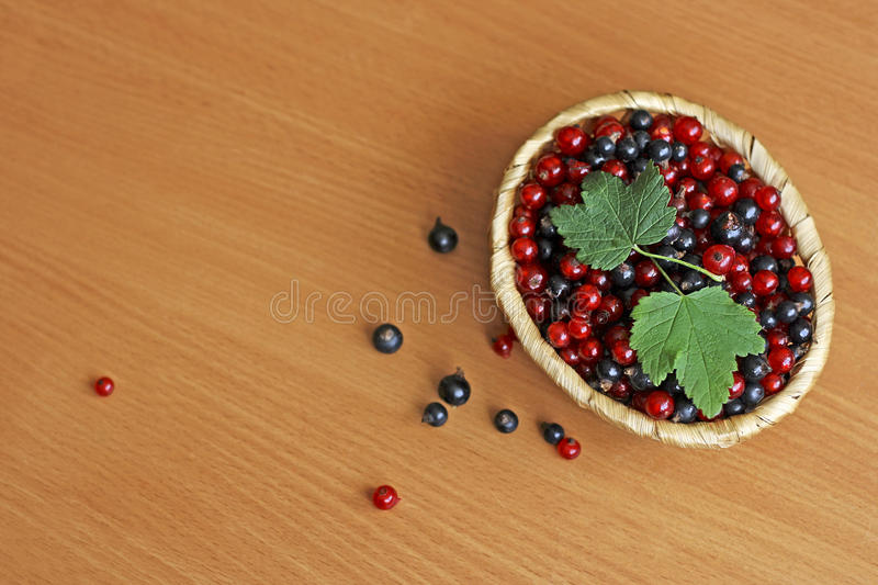 Berries in a wicker basket. Berry background. Black berries and red currants are in light brown wicker basket on a wooden surface royalty free stock photo