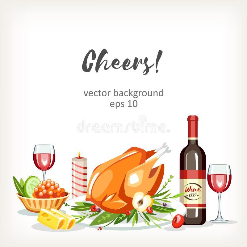 BerriesFood a fait cuire le fond de fête de célébration de vacances de plats avec le poulet illustration stock