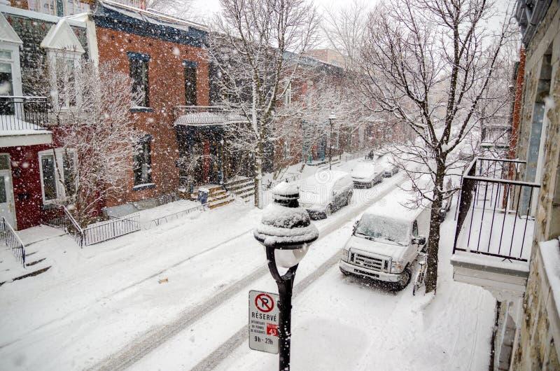 Berristraat tijdens sneeuwonweer royalty-vrije stock fotografie
