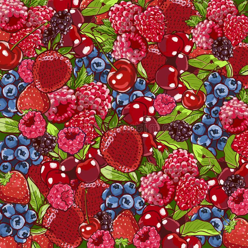 Berry background. Berries overhead closeup colorful assorted mix of strawberry, blueberry, raspberry, blackberry. Food background royalty free illustration