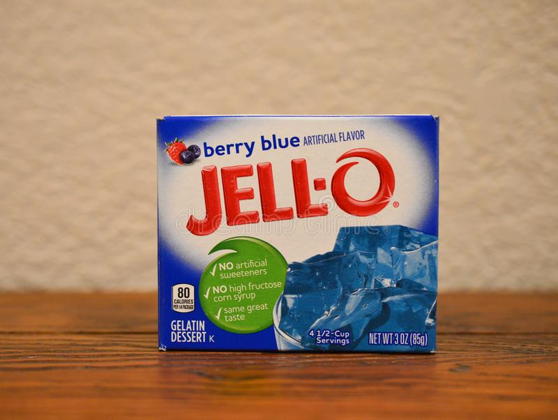 Berry Blue Jell O dessert stock photos