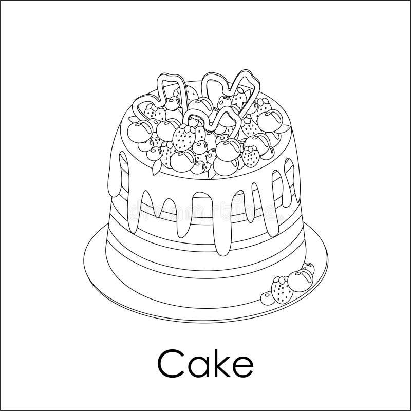 Berry Cake dekorerat med jordgubben, blåbär, körsbär Vektorefterr?ttillustration Monokrom design utdragen sida för färga bok vektor illustrationer