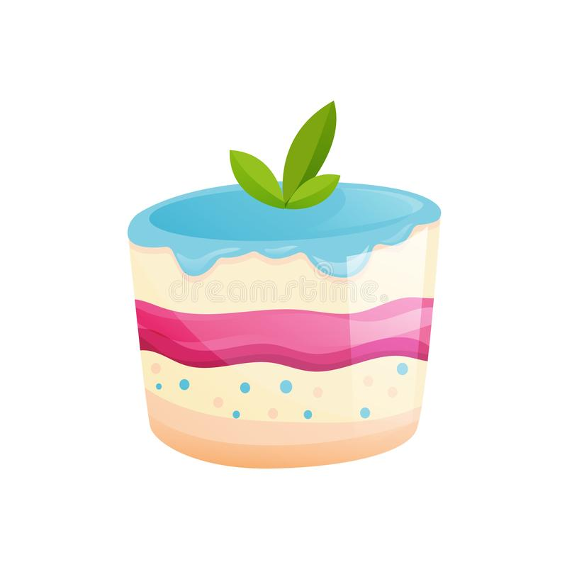 Berry cake with mint leaves. Sweet baked desserts. Delicious food. Beautiful delicious berry cake with mint leaves. Sweet baked desserts. Delicious food. Vector royalty free illustration