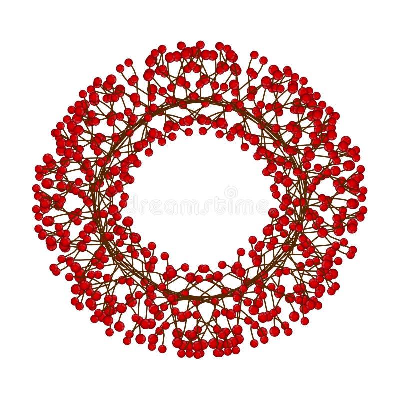Berry Christmas Wreath rojo aislado en el fondo blanco Ilustración del vector stock de ilustración