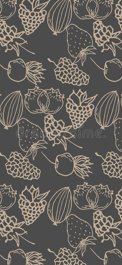 Berry color hand drawn vector set. Fruit botany illustration. Berries engraving doodle sketch line.Dessert ingredient.Great for we. B page background, wrapping stock illustration