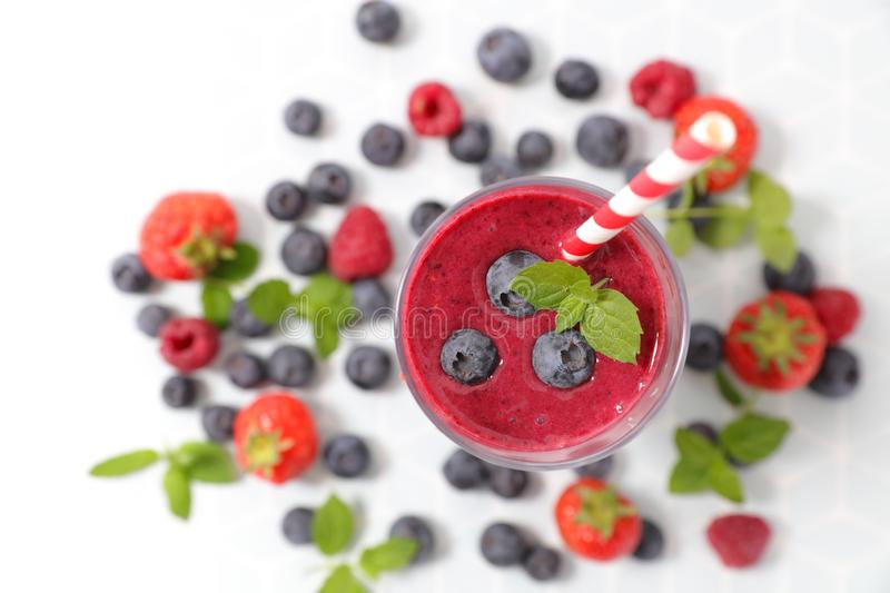 Berry fruit smoothie. With strawberry and blueberry stock images
