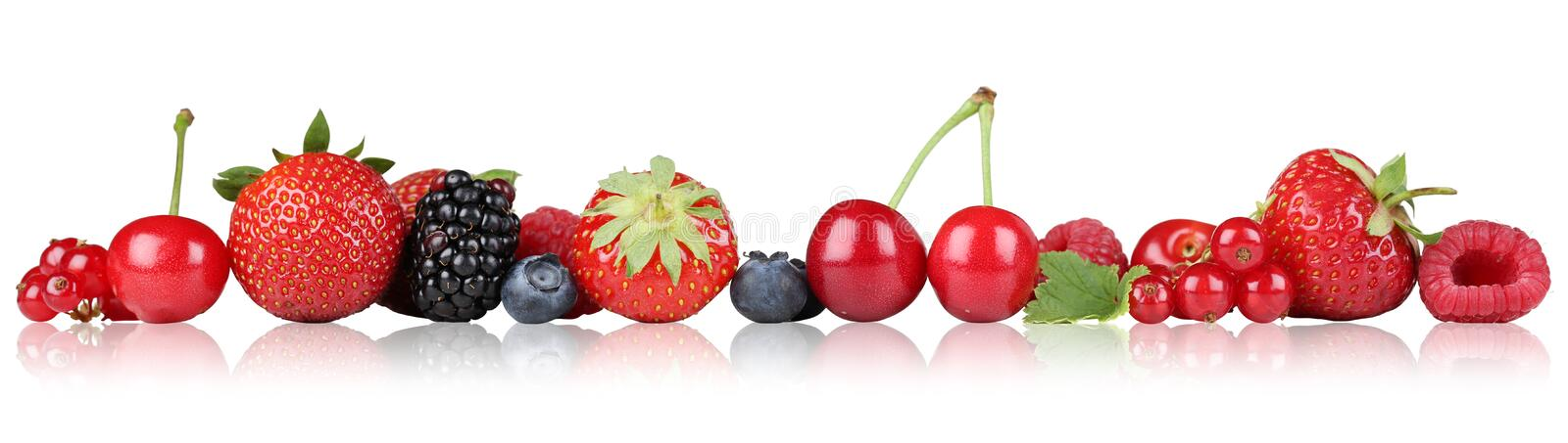 Berry fruits border strawberry raspberry, cherries in a row stock photo