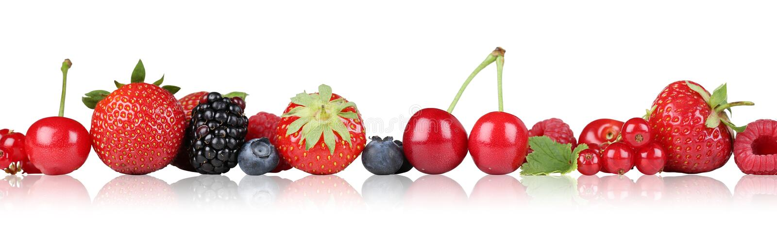 Berry fruits border strawberry raspberry, cherries in a row isolated stock image
