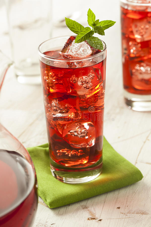 Berry Hibiscus Ice Tea de refrescamento frio imagem de stock royalty free