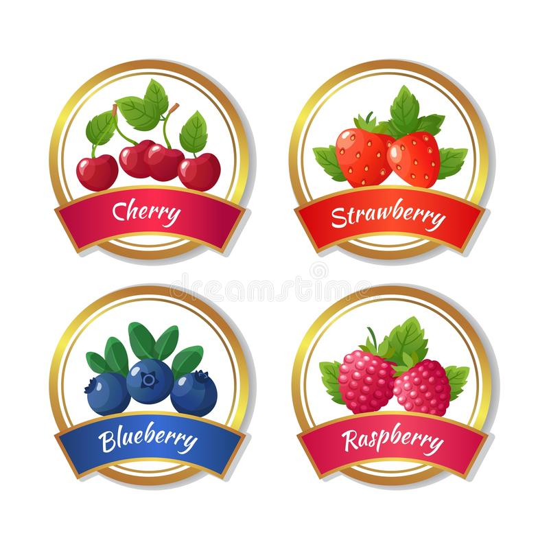 Berry jam and marmalade labels. Fresh summer fruits stickers vector template. Natural jam emblem strawberry and raspberry illustration stock illustration