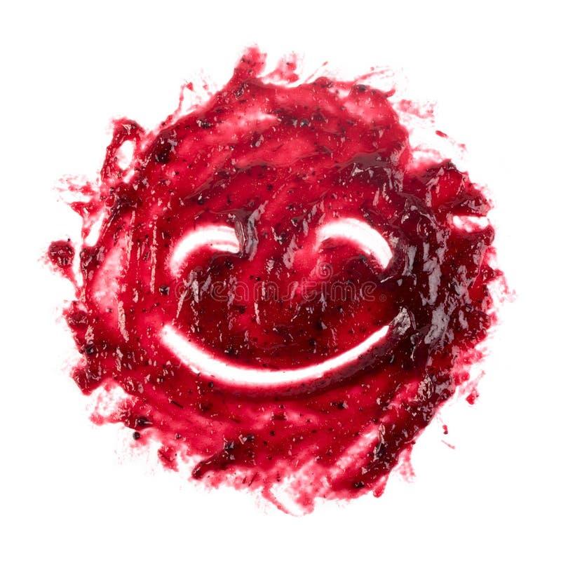Berry Jam Round Blot Frame ou tache rouge foncé d'isolement photographie stock libre de droits