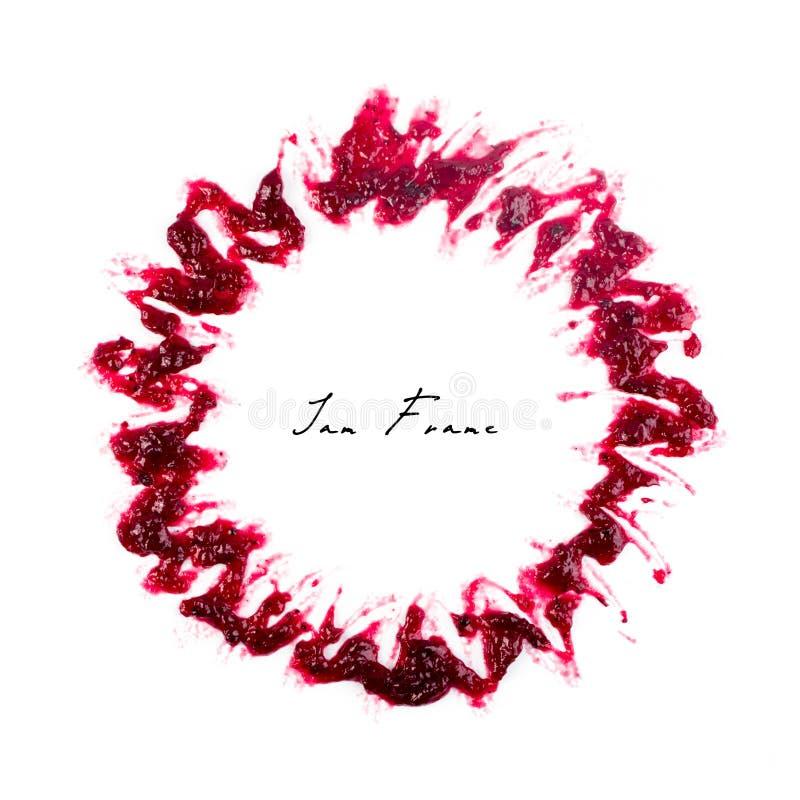 Berry Jam Round Blot Frame ou tache rouge foncé d'isolement images libres de droits