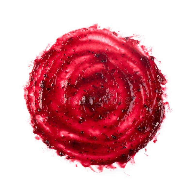 Berry Jam Round Blot Frame ou tache rouge foncé d'isolement photographie stock