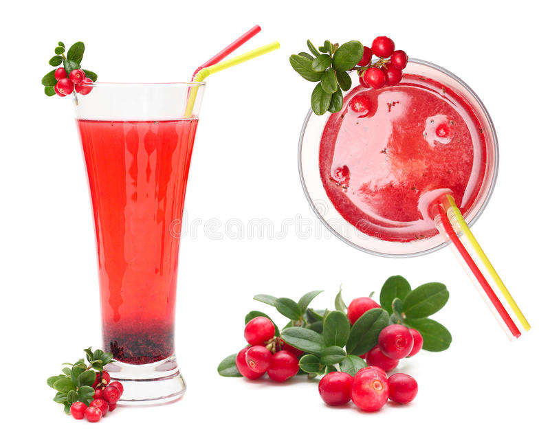 Berry juice and cowberry with leaves. Set isolated on white stock image