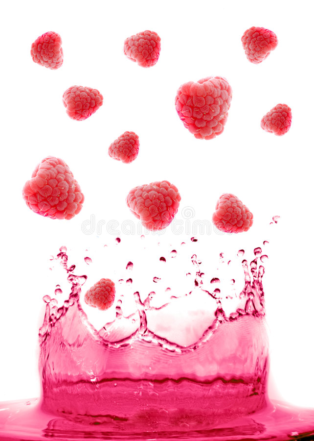Berry jumping. Into water with a splash royalty free stock photography