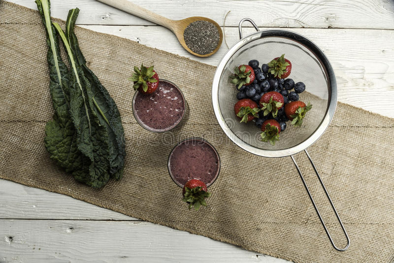 Berry, Kale and chia smoothie stock image