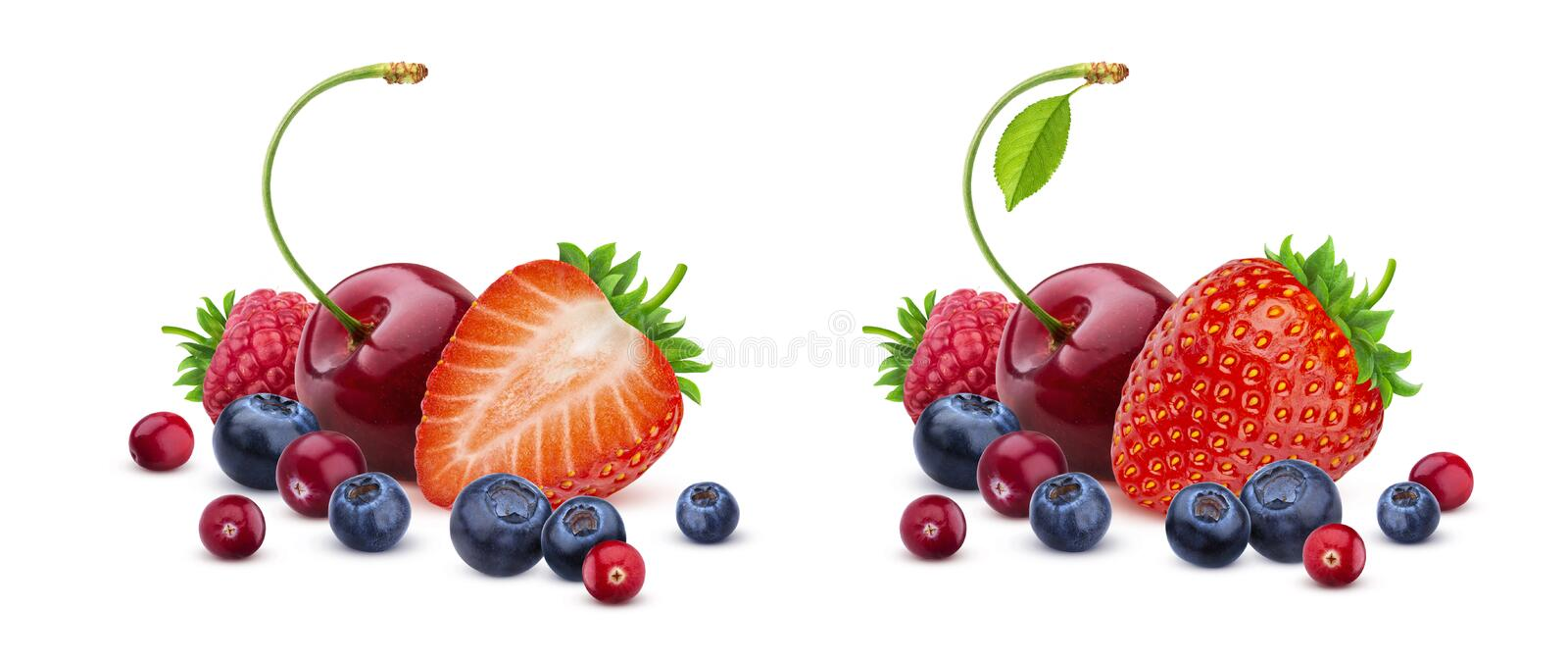 Berry mix isolated on white background, pile of fresh wild berries royalty free stock images