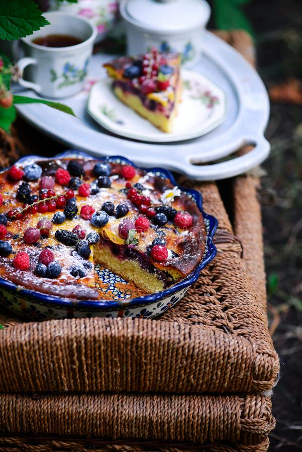 Berry Mix Summer Cake..style rustic royalty free stock photography