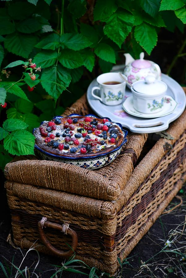 Berry Mix Summer Cake Style rustique image libre de droits