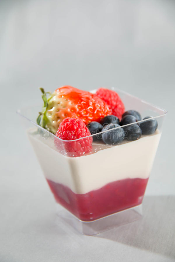 Berry panacotta in a plastic cup stock photo